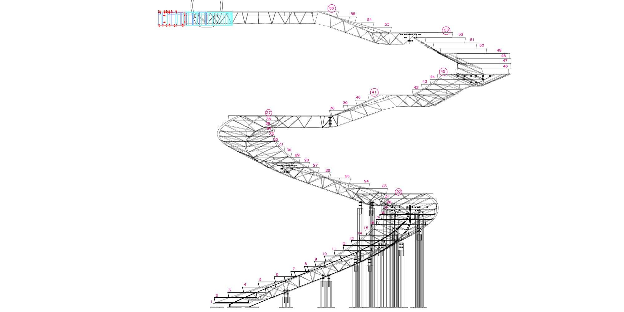 Sezione della scala © Oded Halaf