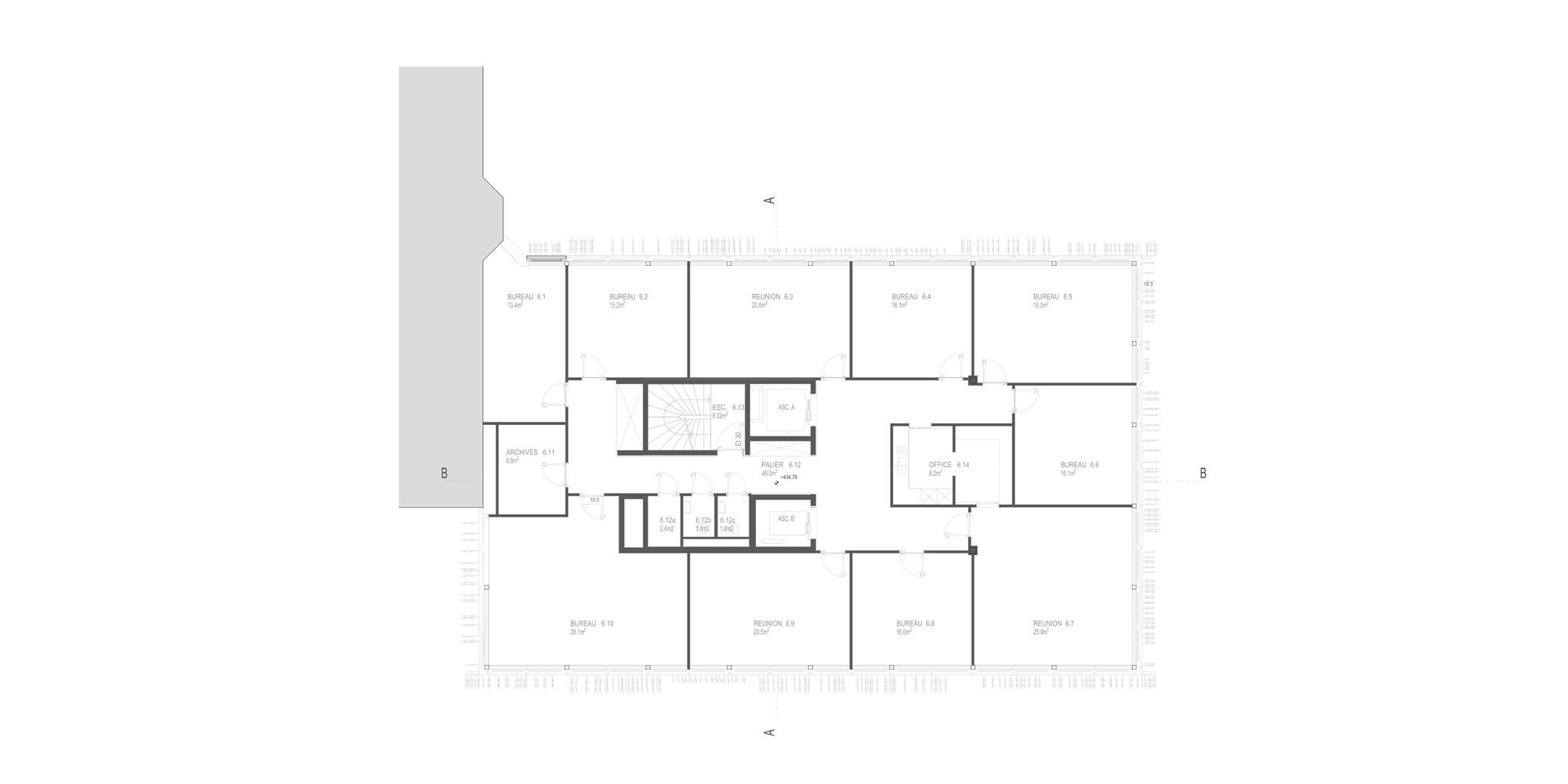 Sixth floor plan © Giovanni Vaccarini architects - SINCRETICA architecture