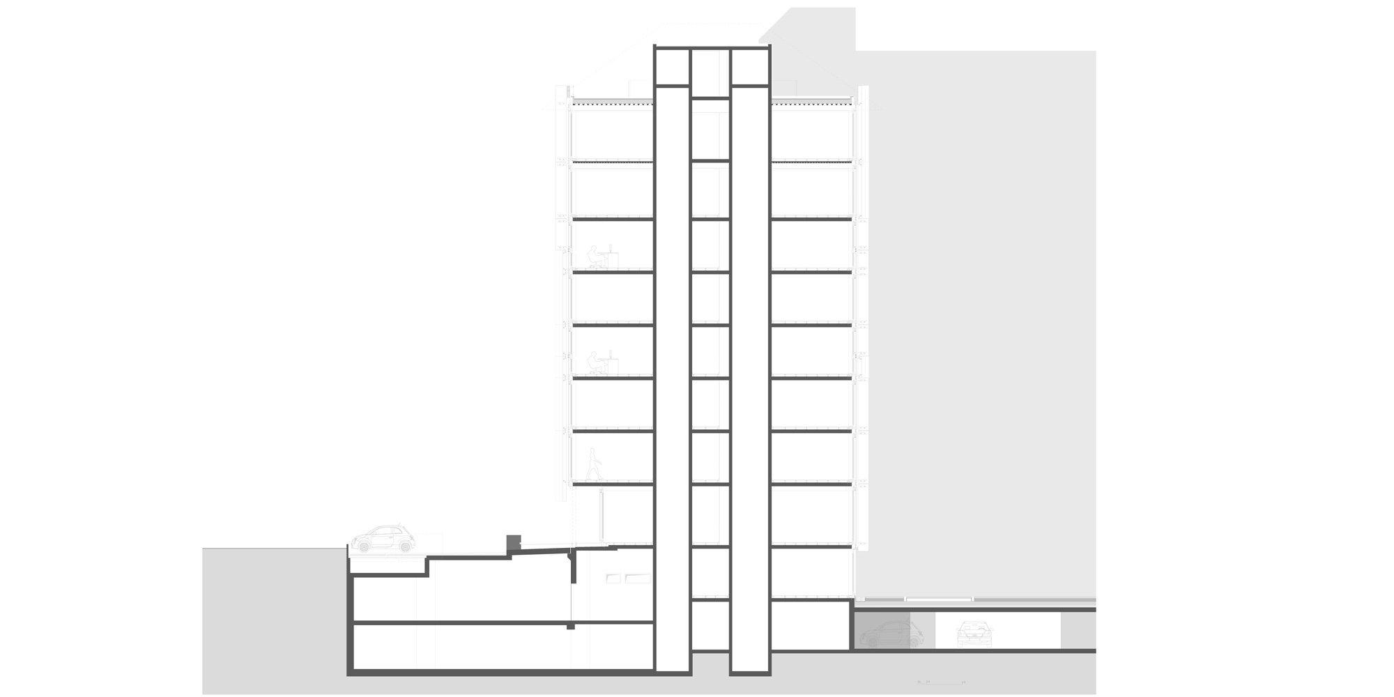 AA Section © Giovanni Vaccarini architects - SINCRETICA architecture