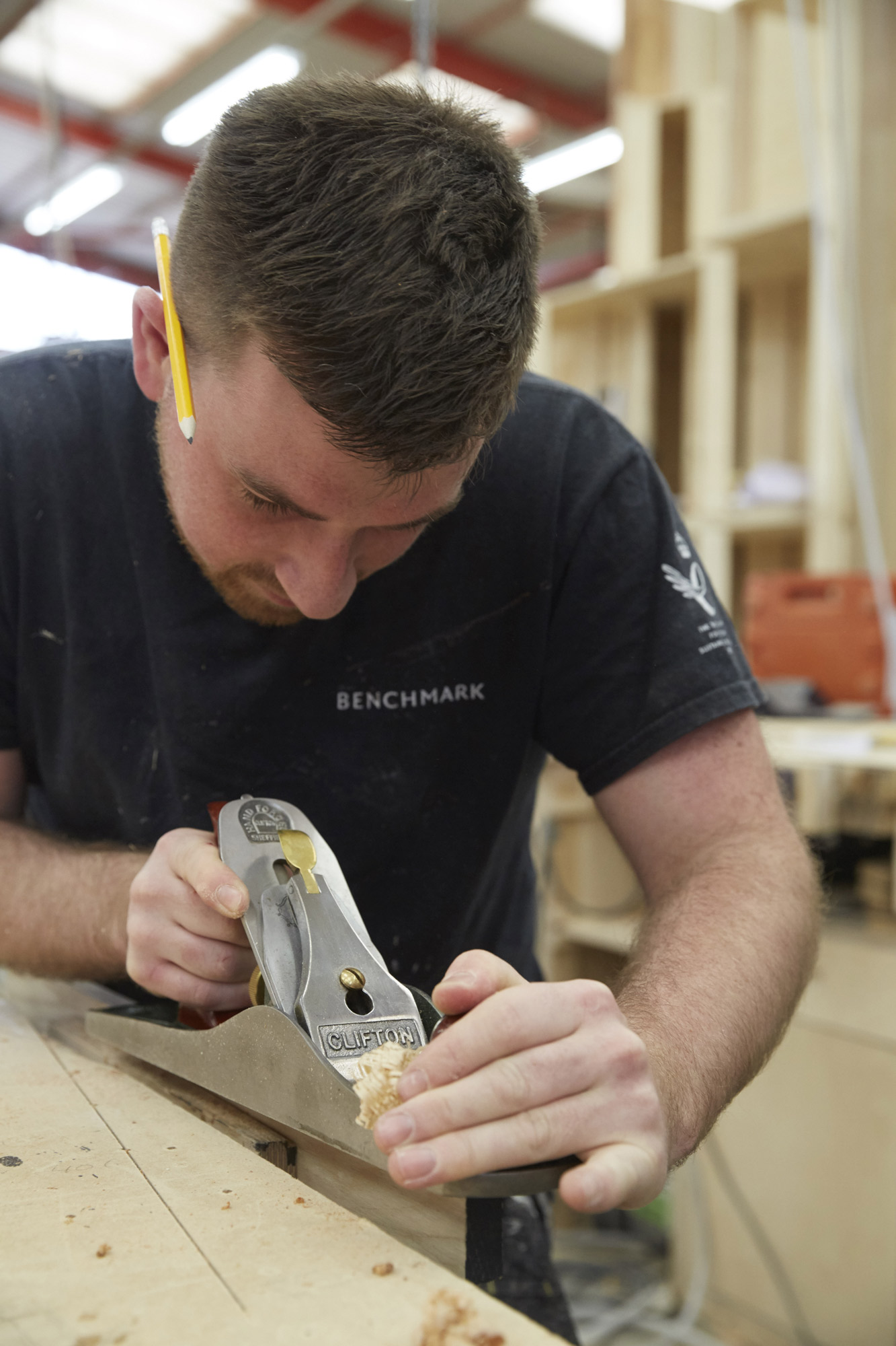 Too Good To Waste: Craftsman in the Benchmark workshop using a hand plane © Jon Cardwel