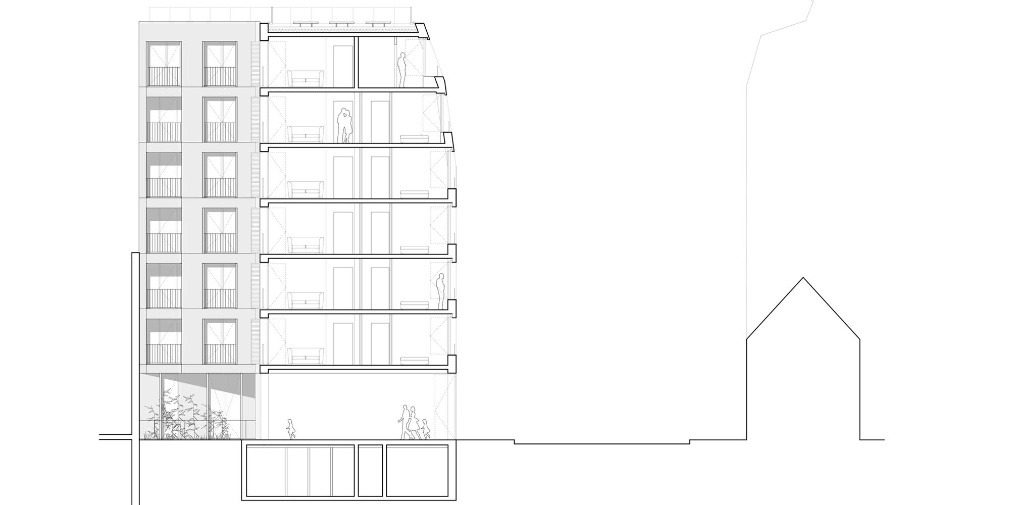 Sezione Sud-Est © Avenier Cornejo Architectes