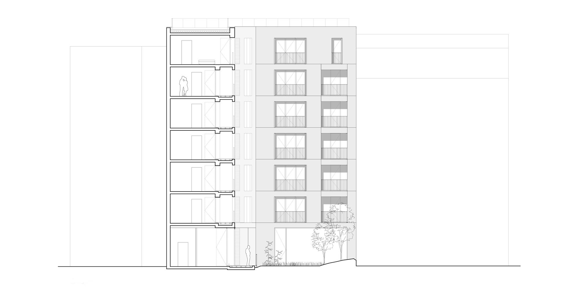 Sezione Sud-Ovest © Avenier Cornejo Architectes