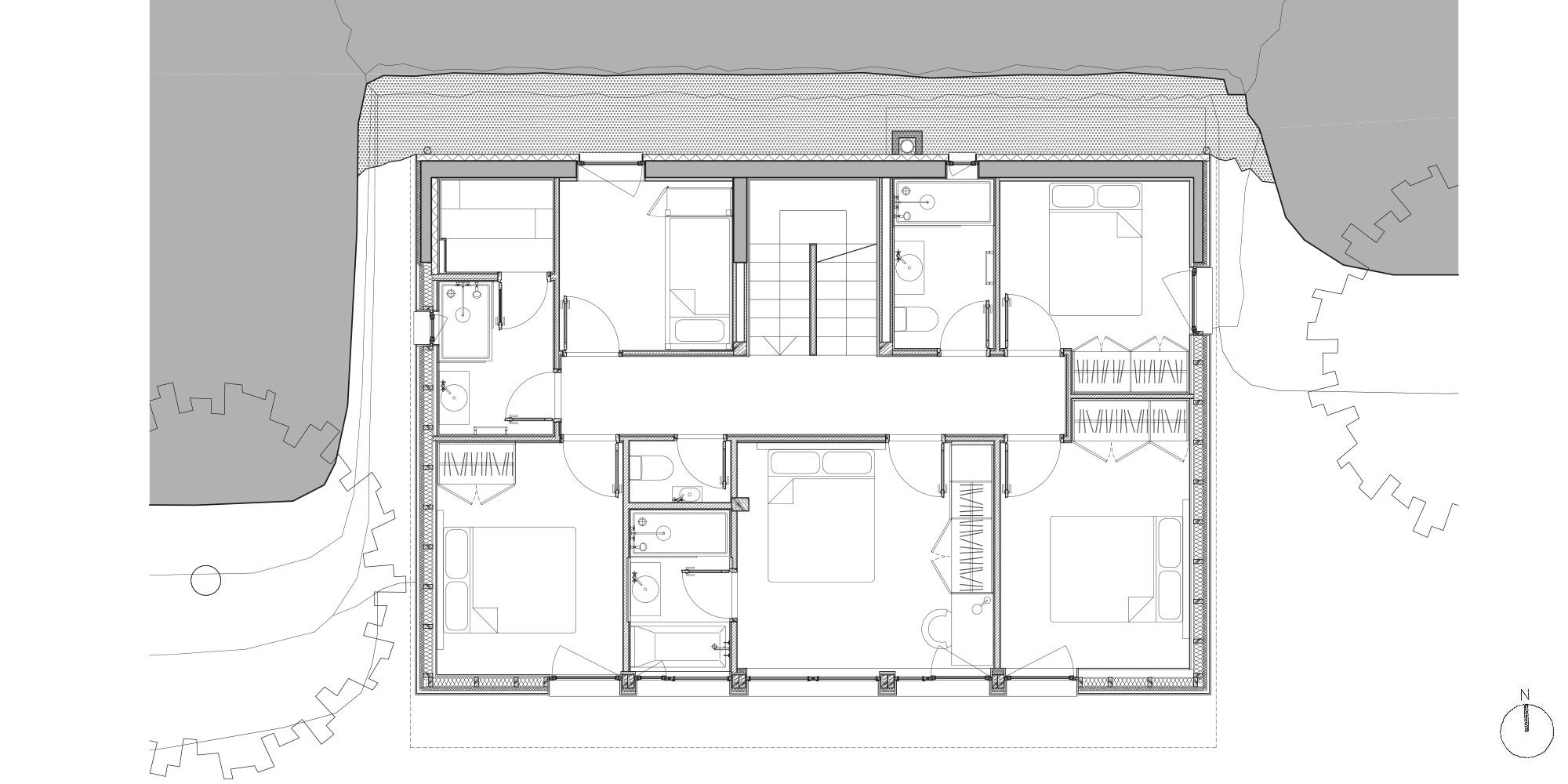 First Floor Plan © Studio Razavi Architecture