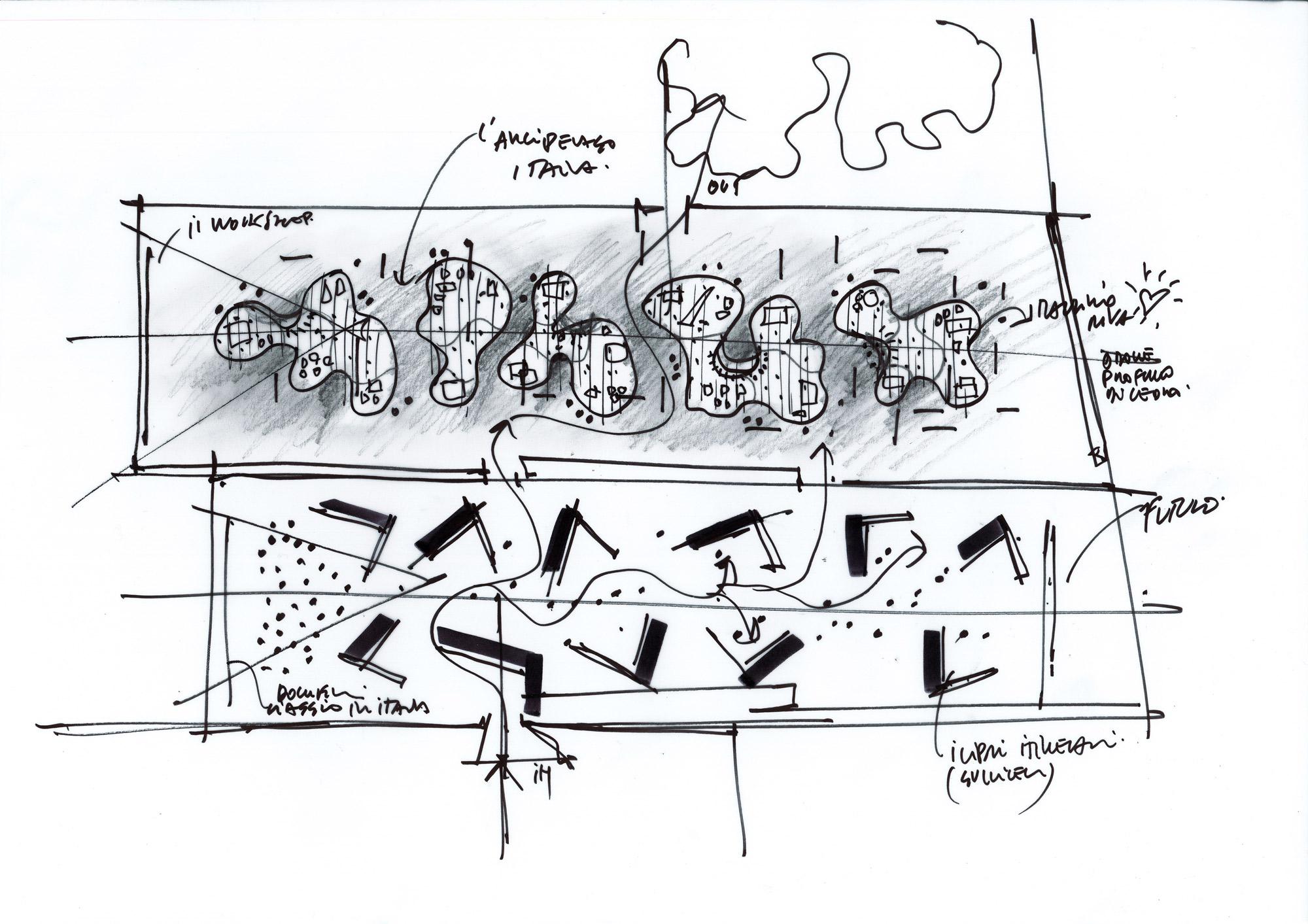 Schizzo di studio del Padiglione Italia © Mario Cucinella