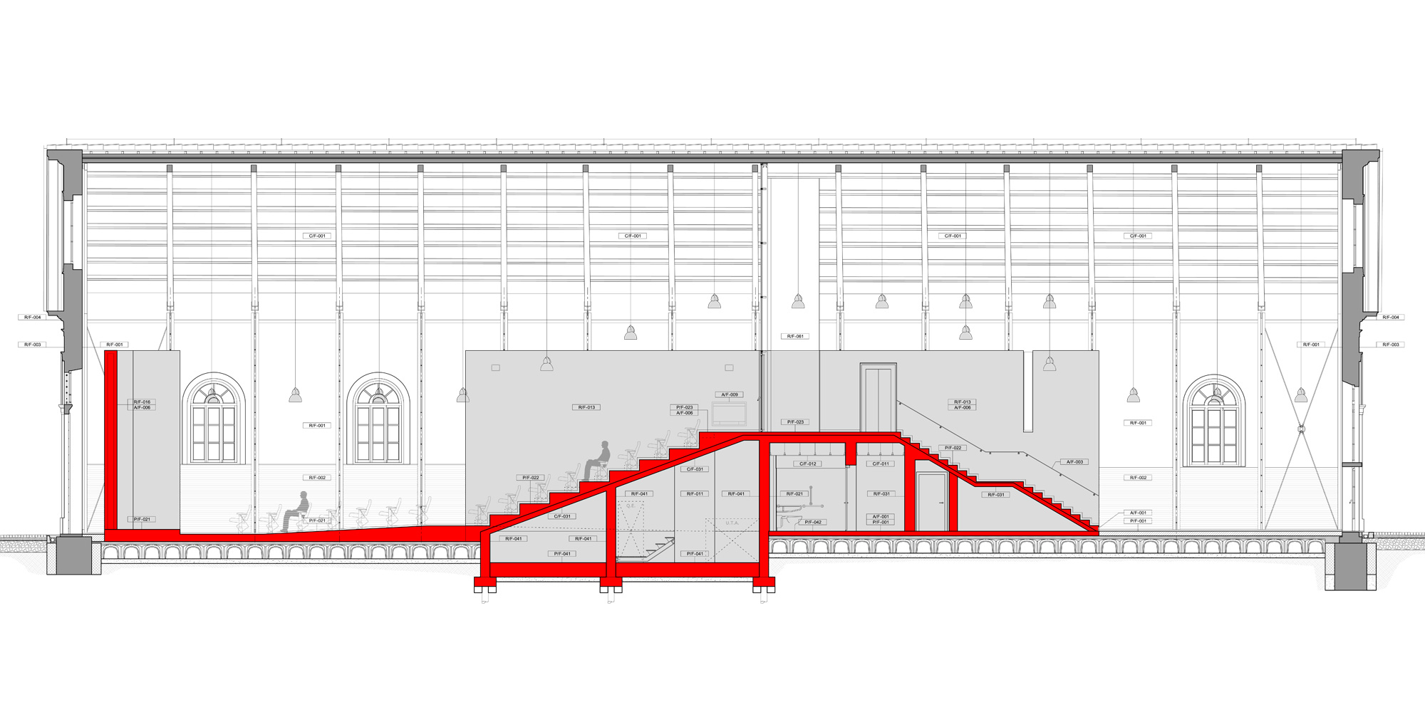 sezione aa auditorium © ODB - LRA