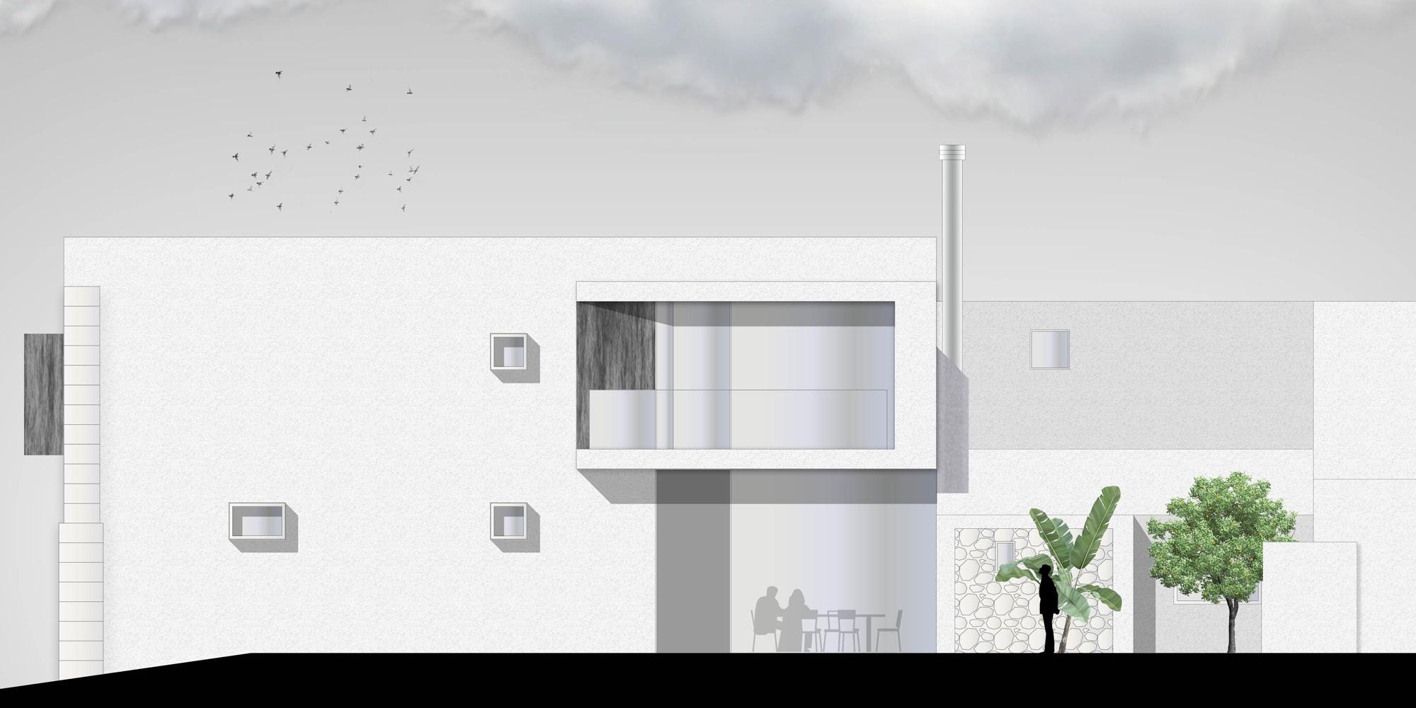 PROSPETTO DEL GIARDINO INTERNO © Lillo Giglia Architect