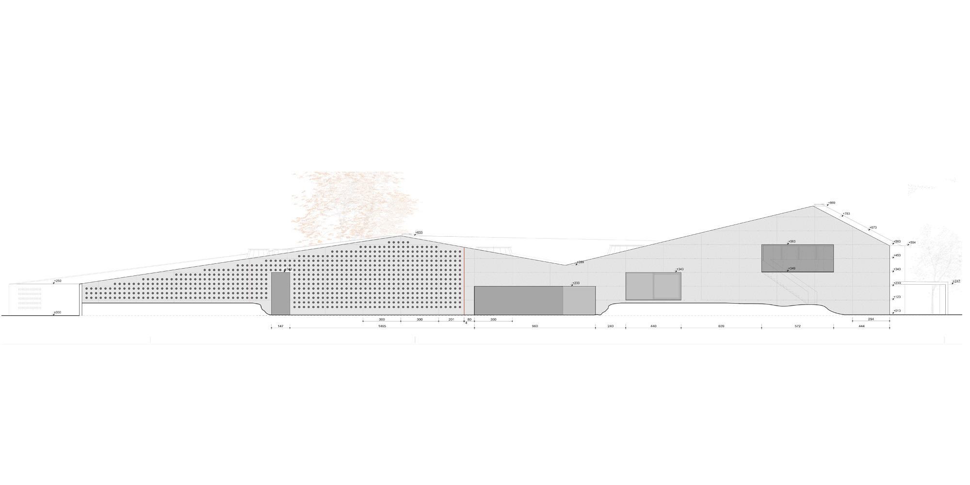 Prospetto sud © Studio Davanzo Architetti