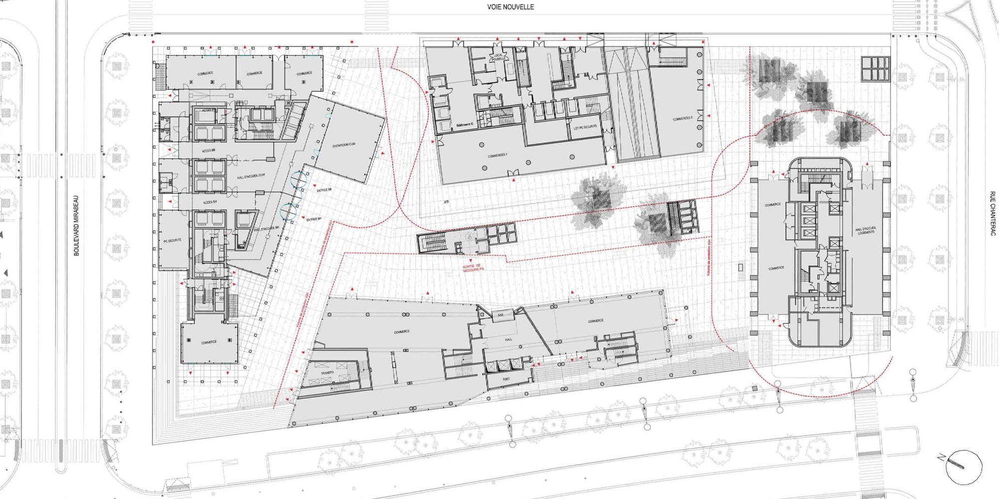 Pianta piano terra della torre e degli edifici circostanti © Ateliers Jean Nouvel, Constructa