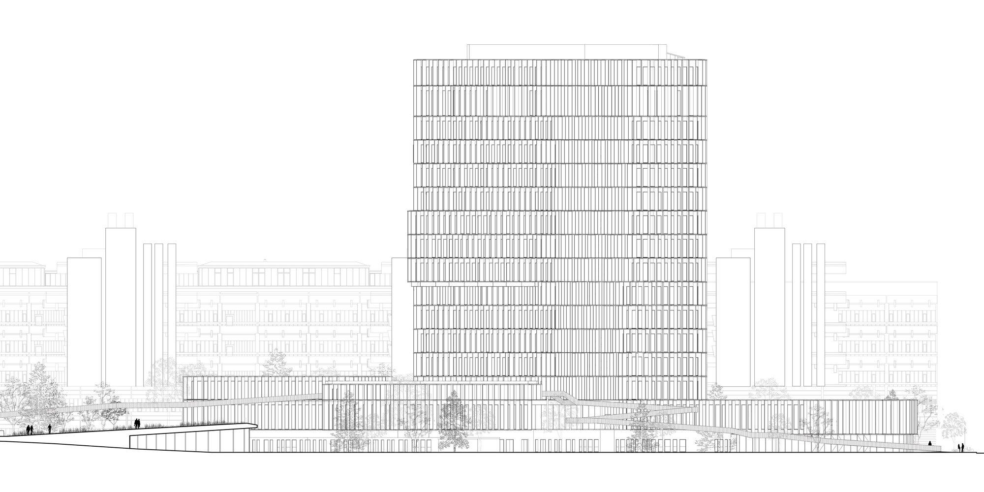 Prospetto sud-ovest © C.F. Møller Architects