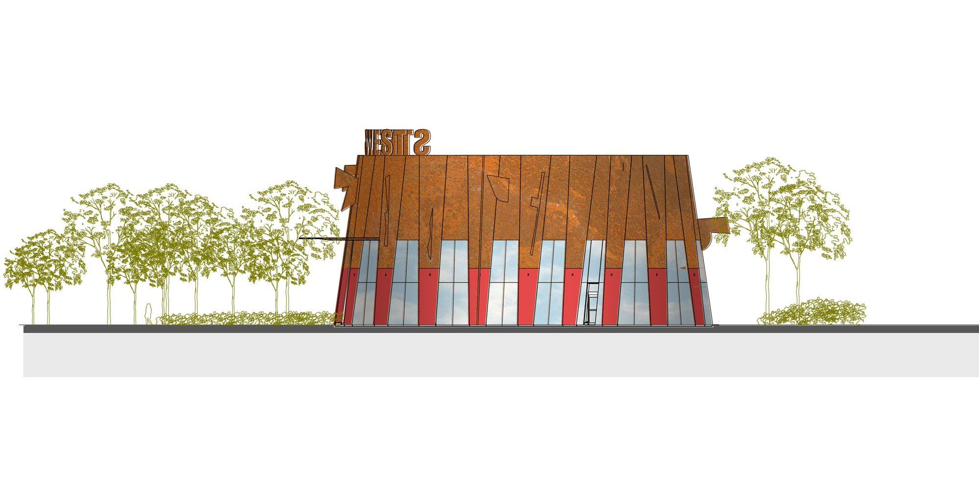 Prospetto nord - Ingresso principale © aLL Design, TSGA
