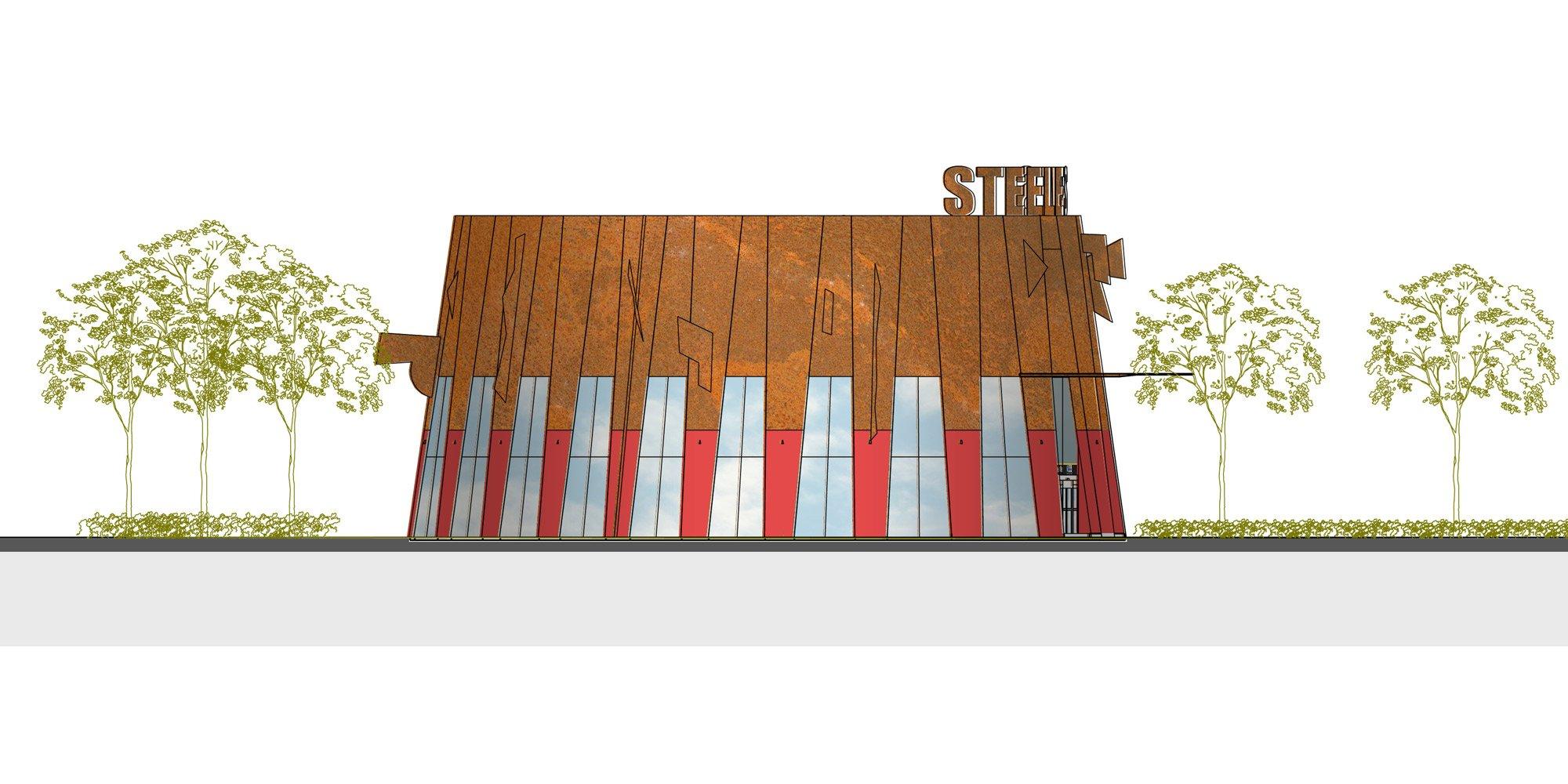 Prospetto sud - Ingresso principale © aLL Design, TSGA