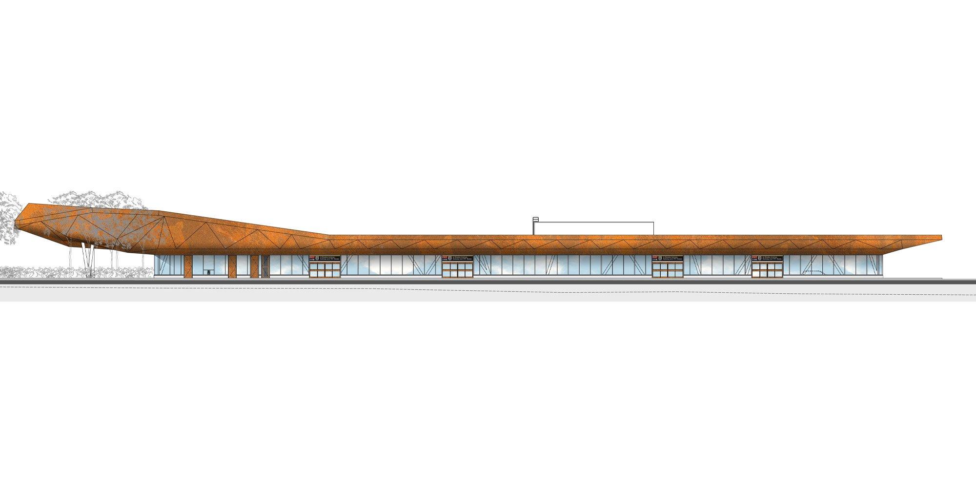 Prospetto nord - Terminal autobus © aLL Design, TSGA