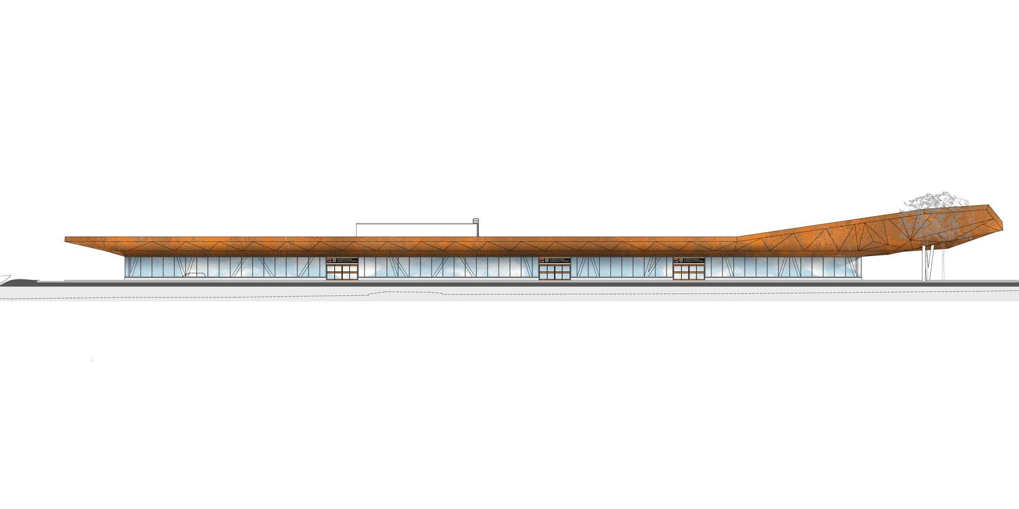 Prospetto sud - Terminal autobus © aLL Design, TSGA