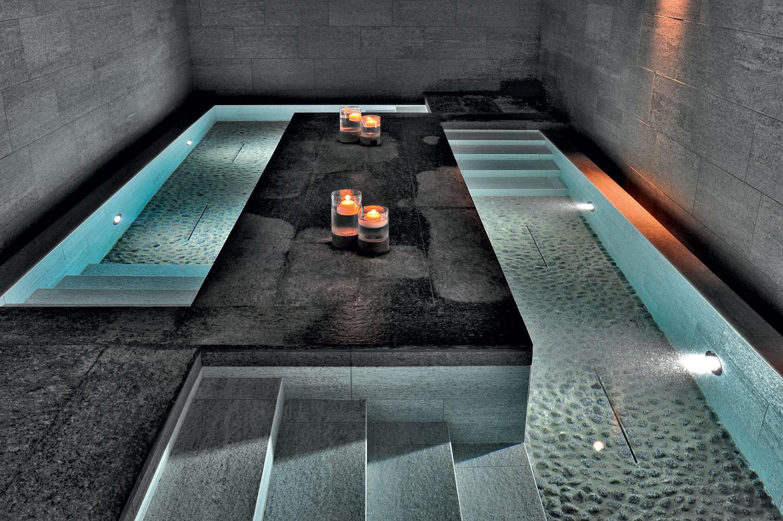 QC Terme Dolomiti Pozza di Fassa, Italy. Tiled surfaces: In&Out Percorsi Smart by Ceramiche Keope