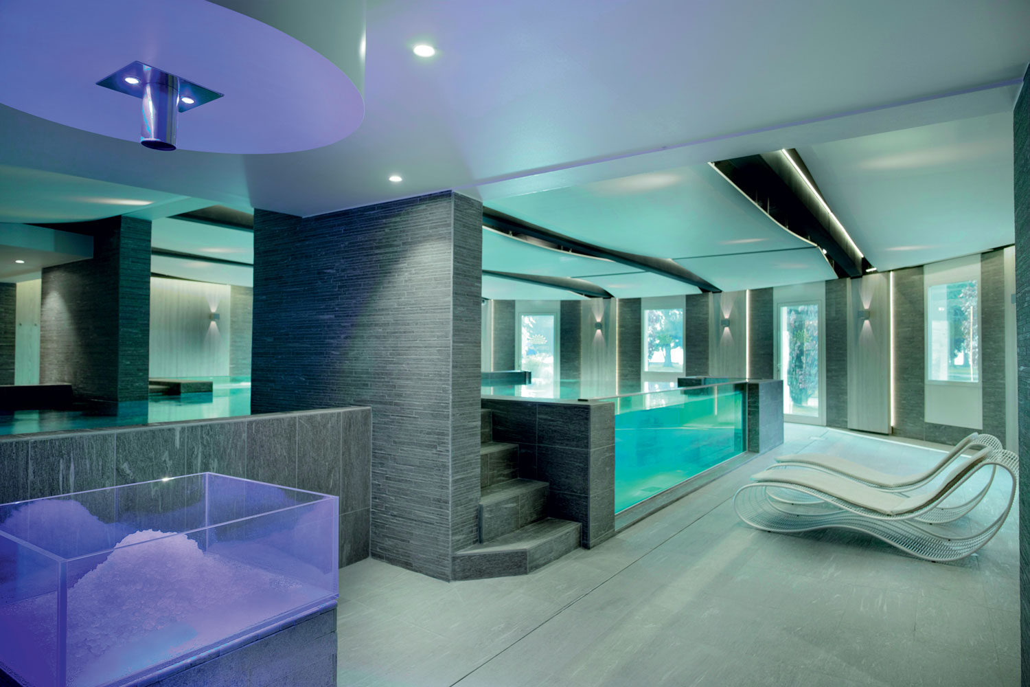Cristal Spa, Imperial Palace Hotel Annecy, France. Tiled surfaces: Mystone Pietra di Vals by Marazzi