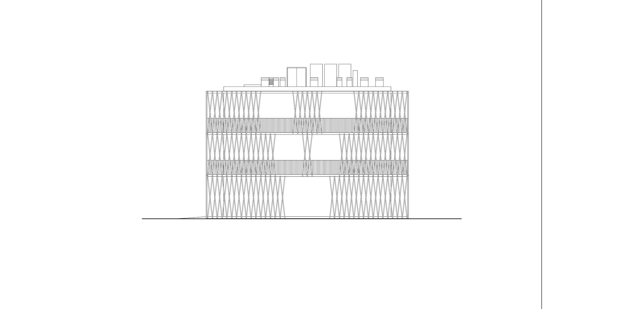 West Elevation © Antonio Iascone Ingegneri Architetti