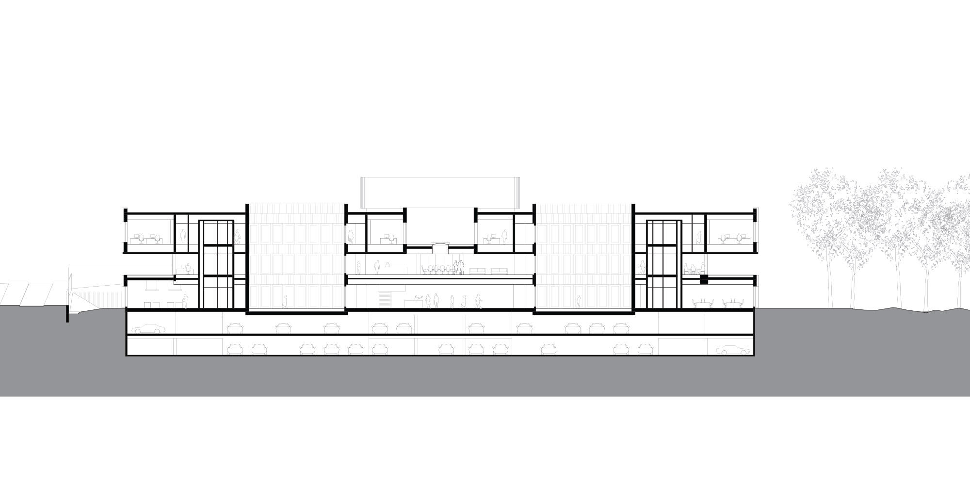 Sezione CC © KAAN Architecten and PDAA