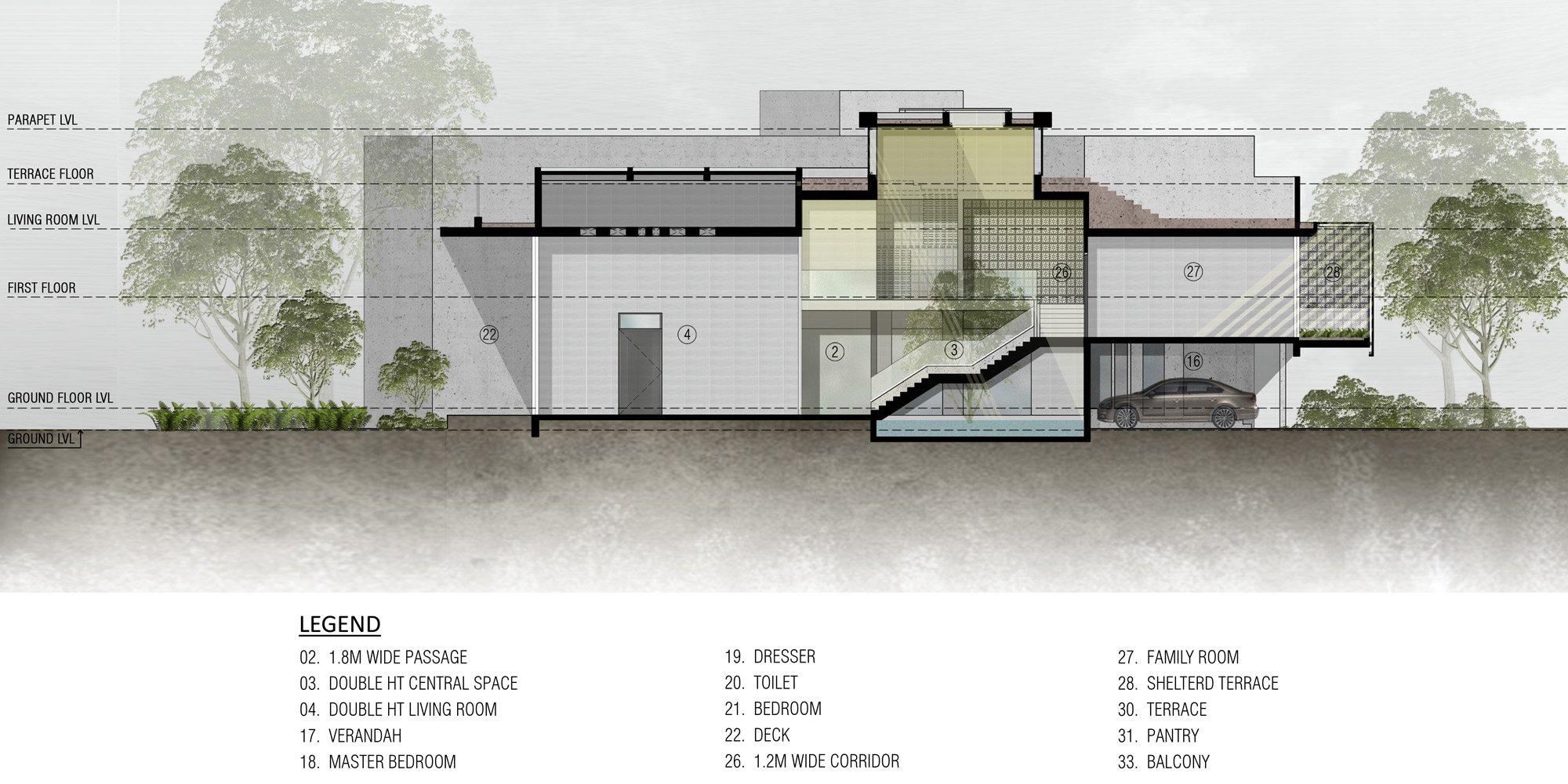 Sezione AA © Sanjay Puri Architects
