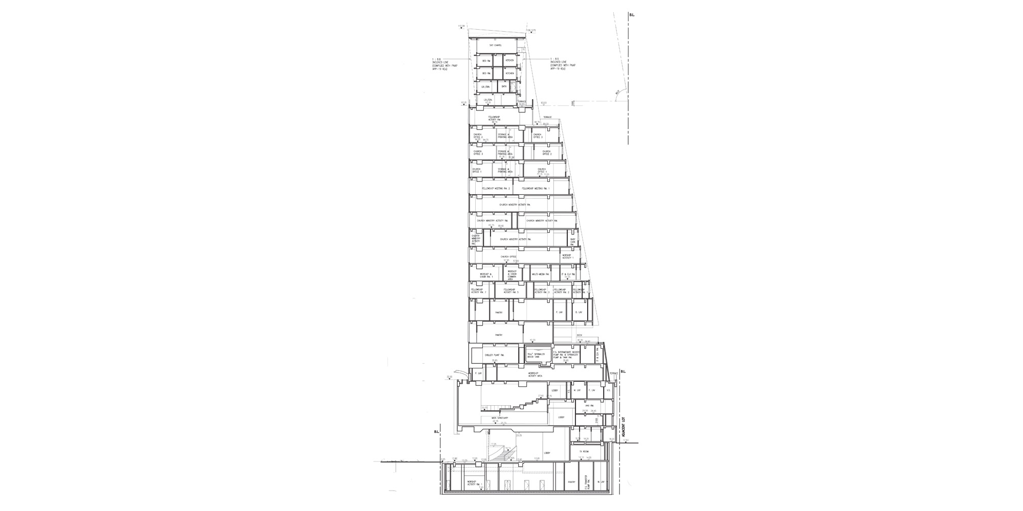 Sezione AA © Rocco Design Architects Associates