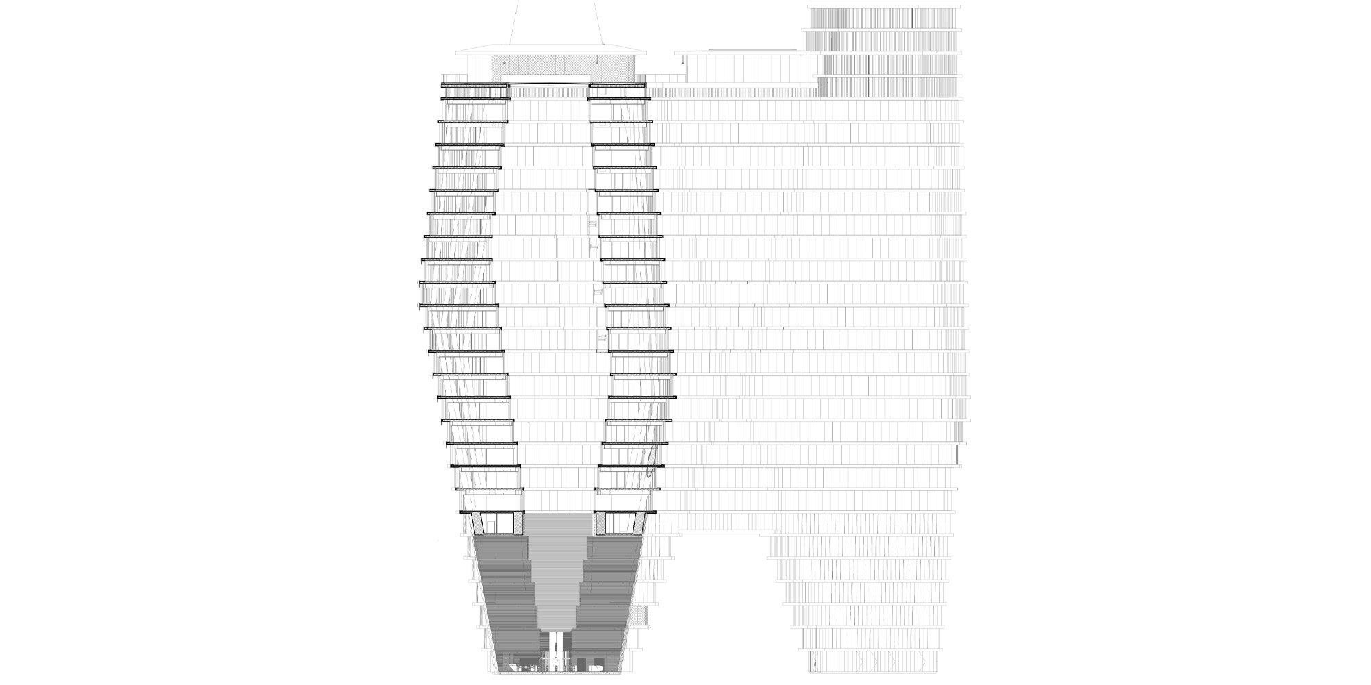 Sezione AA © Ron Arad Architects