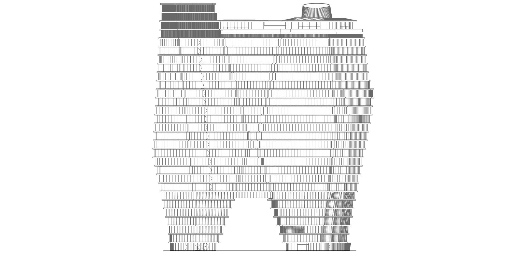 Prospetto nord © Ron Arad Architects