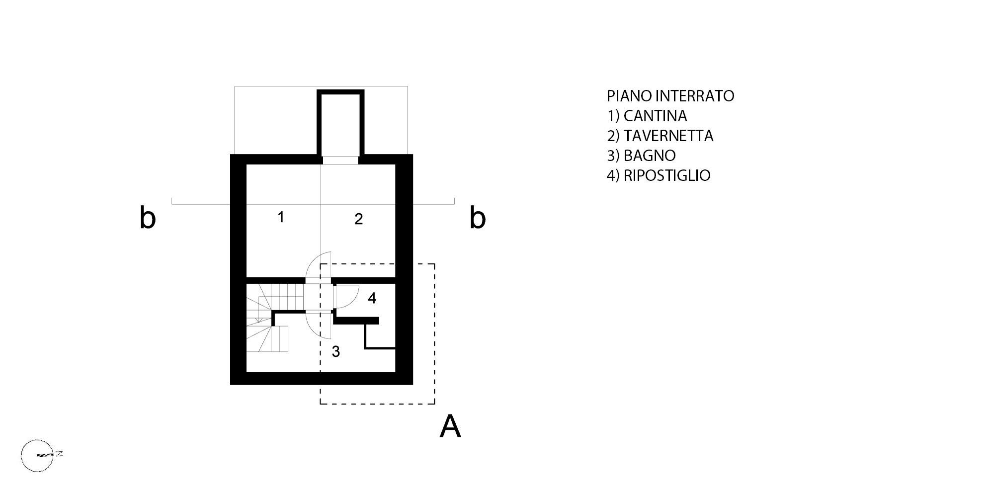 Pianta Piano Interrato © Piraccini + Potente Architettur