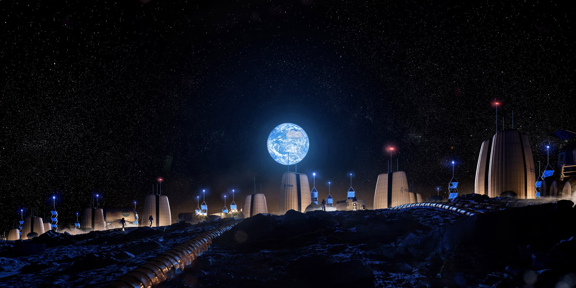"SOM, ""Moon Village Earth Rise,"" Life Beyond Earth, 2020 Courtesy SOM 
