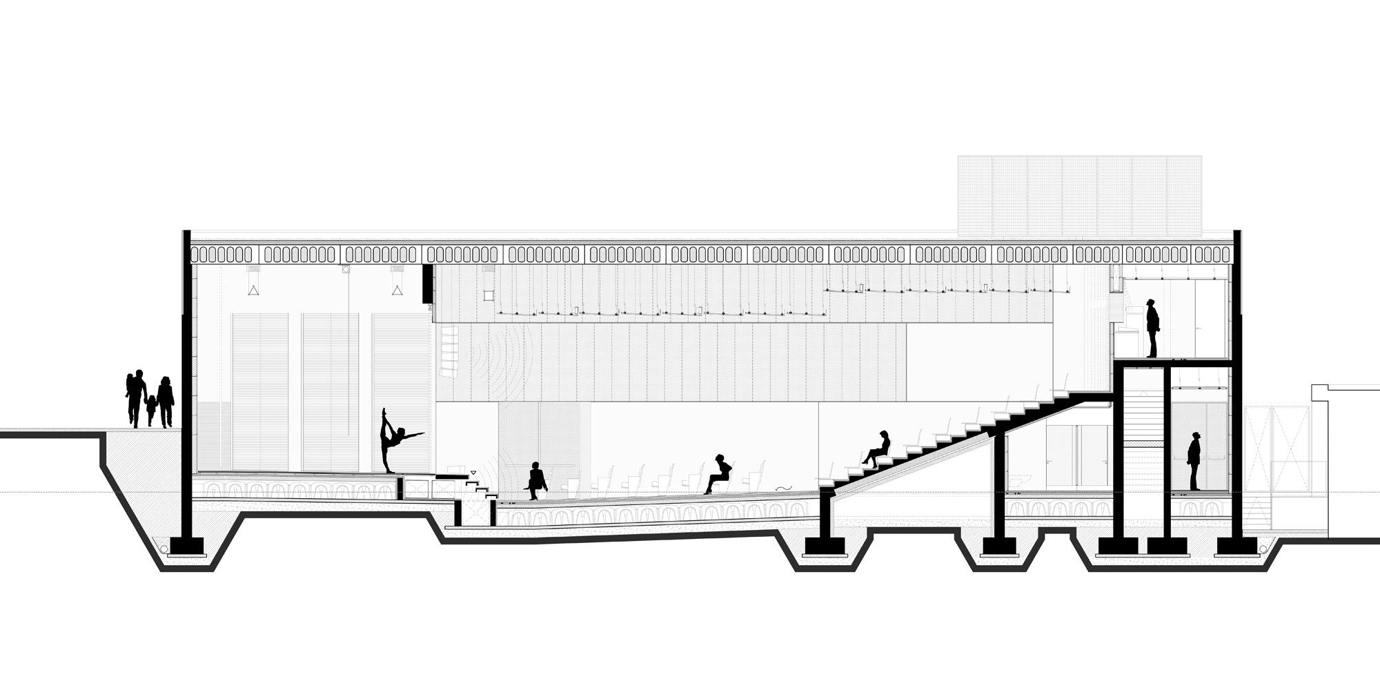 Sezione longitudinale © PBeB Architetti