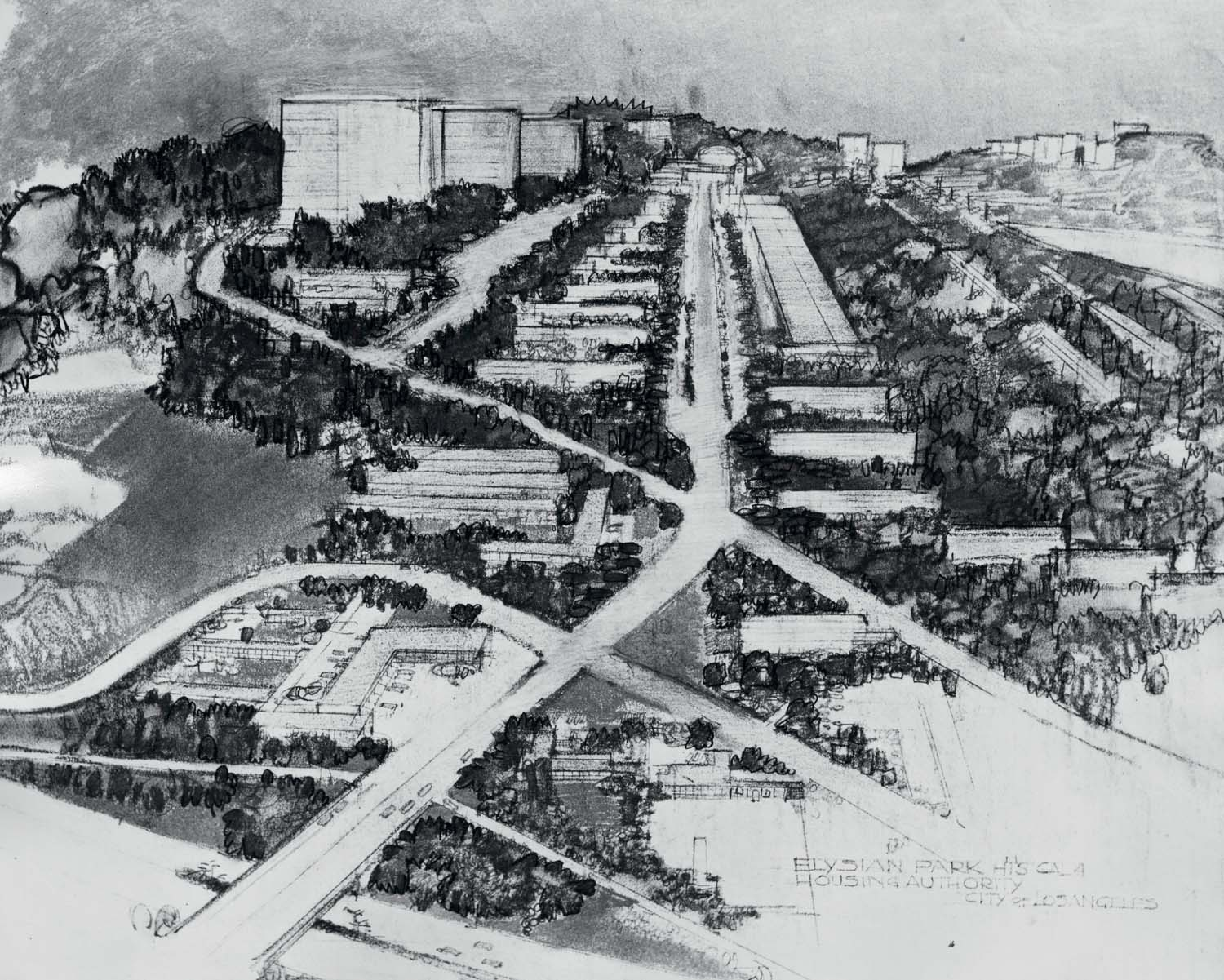 Elysian Park Heights housing project Richard Neutra and Robert E. Alexander. Courtesy of Southern California Library - LA Housing Authority Photo Collection