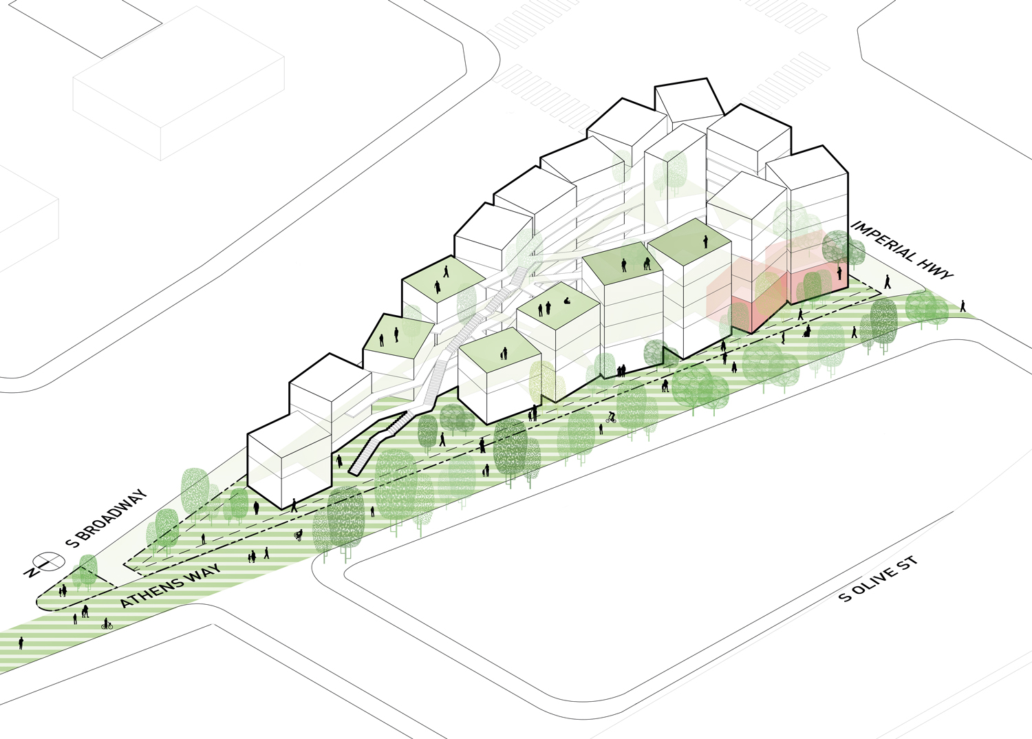 Isla Intersections,  54-unit housing project and promenade, LOHA, Los Angeles, CA, USA, ongoing Axonometric diagram