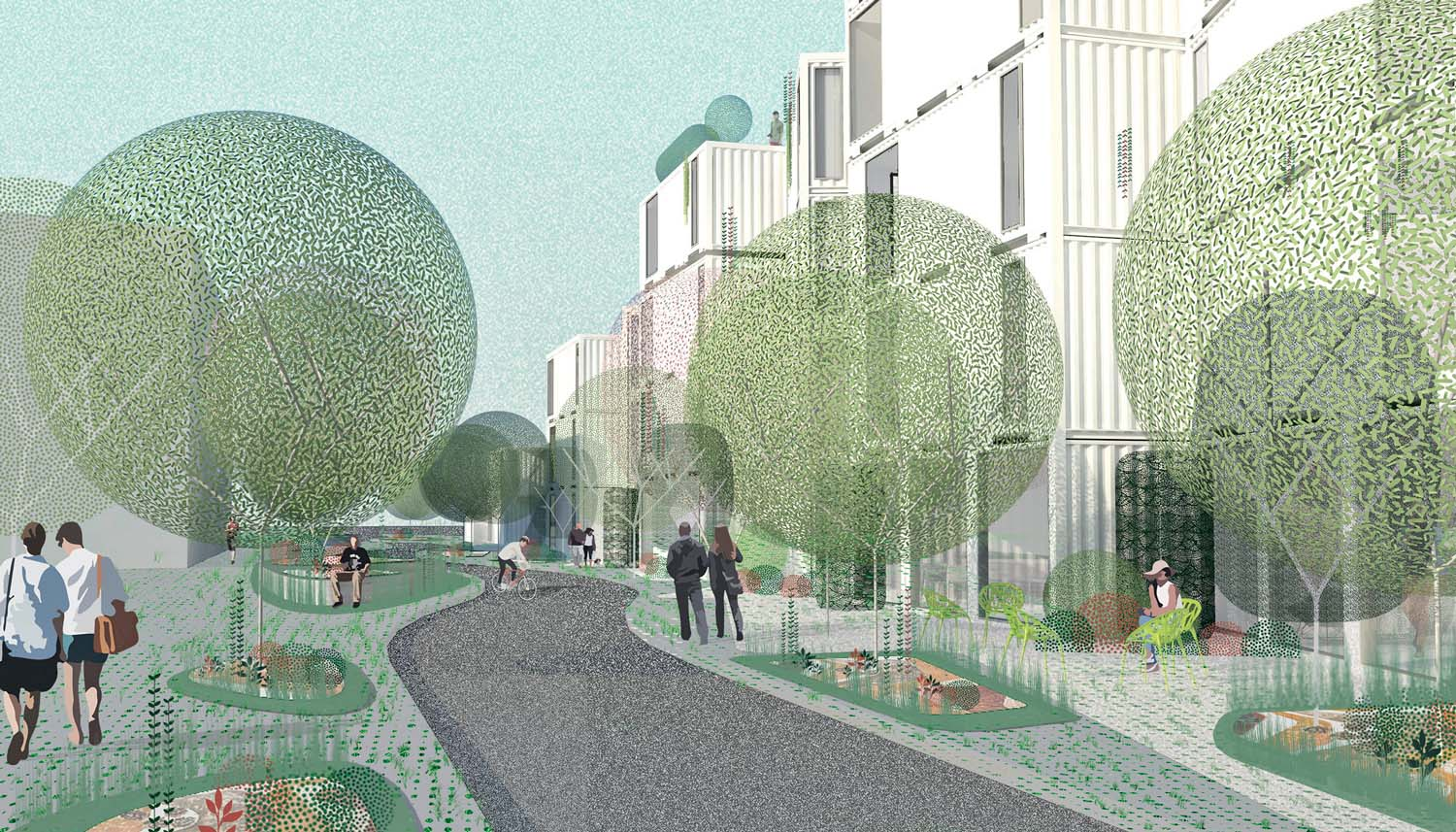 Isla Intersections,  54-unit housing project and promenade, LOHA, Los Angeles, CA, USA, ongoing Renderings of public spaces