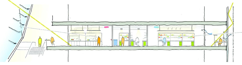 Sezione bioclimatica dei laboratori