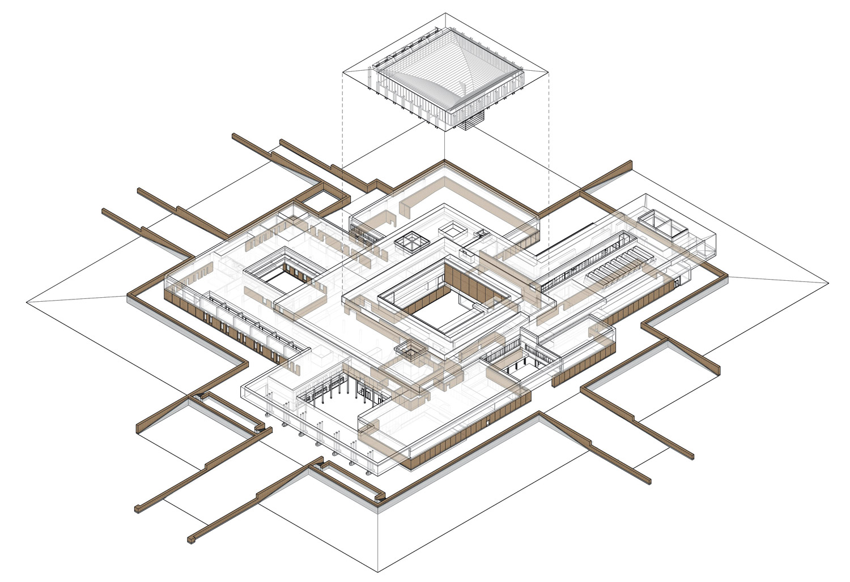 Schema assonometrico della distribuzione dei muri in terra battuta