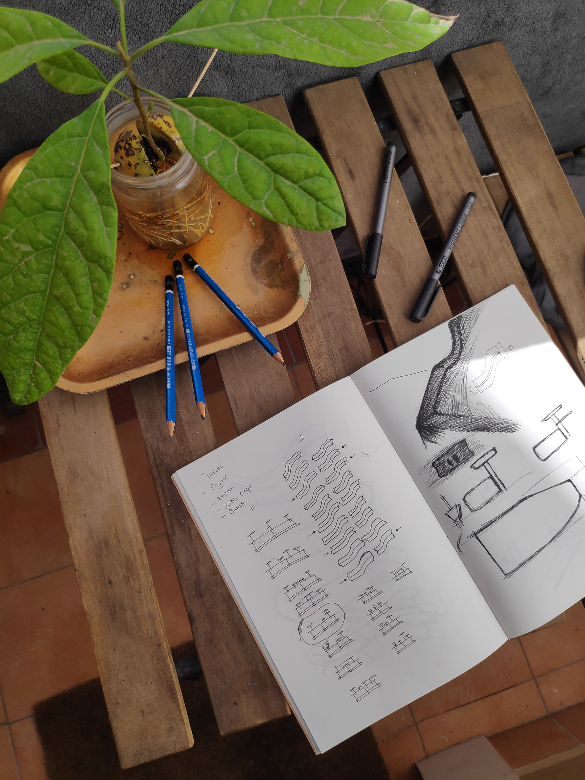 Juan & Juan_Riverside bench_Sketches 1