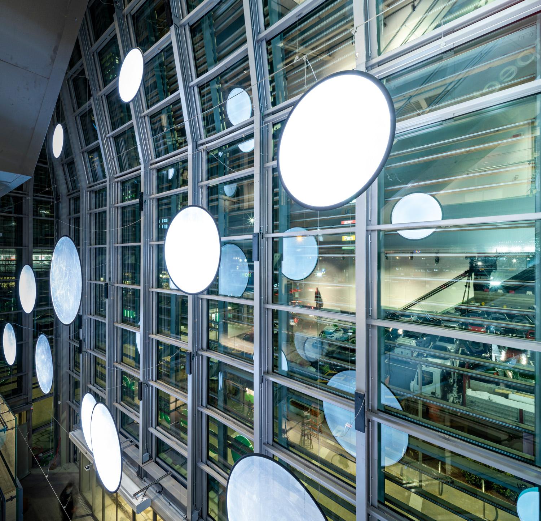 © Fabio Oggero courtesy ACC Naturale Architettura e Negozio Blu Architetti Associati Visible from outside through the façade, the transparent elements of Discovery, designed by Ernesto Gismondi, light up with either white or colored light.