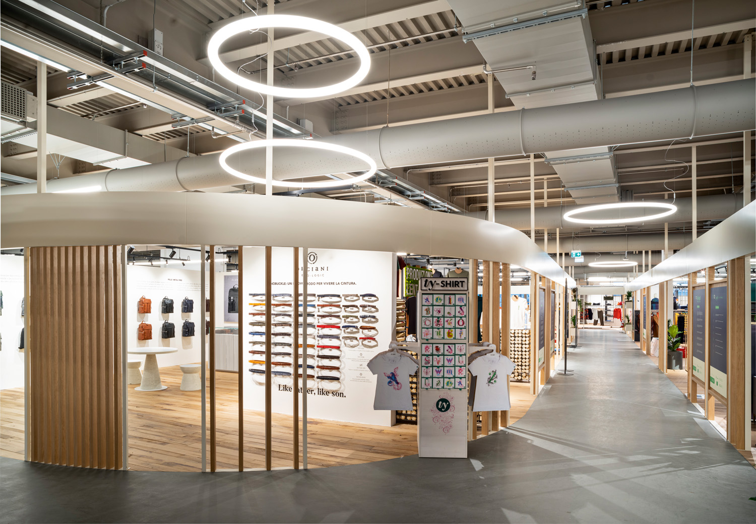 © Fabio Oggero courtesy ACC Naturale Architettura e Negozio Blu Architetti Associati Common spaces are lit by Alphabet of Light circular elements. Designed by BIG, this system generates a diffuse and pleasant light that it also highly-efficient.