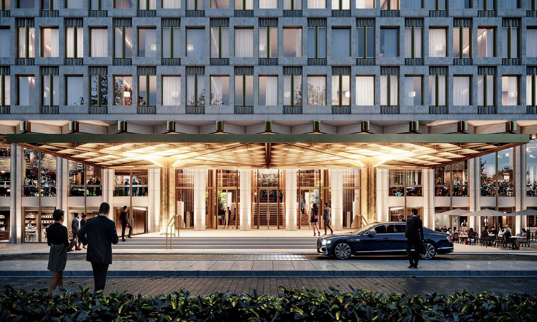 L'ambasciata degli Stati Uniti a Londra del 1960, che nei prossimi anni verrà trasformata nell'hotel 30 Grosvenor Square Immagine di DBOX per Qatari Diar, courtesy David Chipperfield Architects