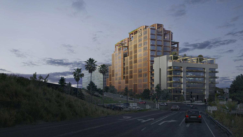 A San Jose, CA, il recente progetto di Studio Gang per una torre per uffici in legno include la trasformazione del vicino edificio per uffici in cemento risalente agli anni '70, inizialmente destinato alla demolizione. Immagine di Aesthetica e Studio Gang, courtesy Studio Gang