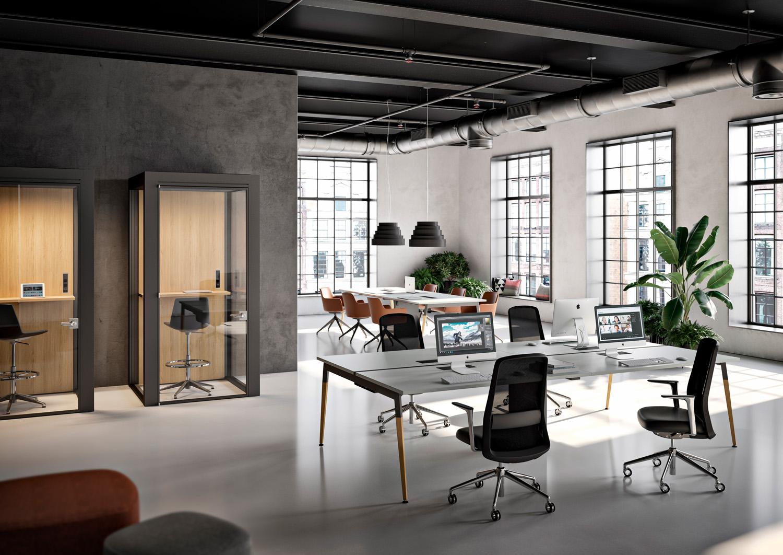 Scrivanie X3, ambientazione industriale courtesy Quadrifoglio Group