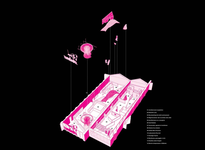 Padiglione Italia. Assonometria che mostra il riutilizzo dei materiali provenienti dall'esposizione del Padiglione Italia 2019 per la 58. Esposizione Internazionale d'Arte della Biennale di Venezia