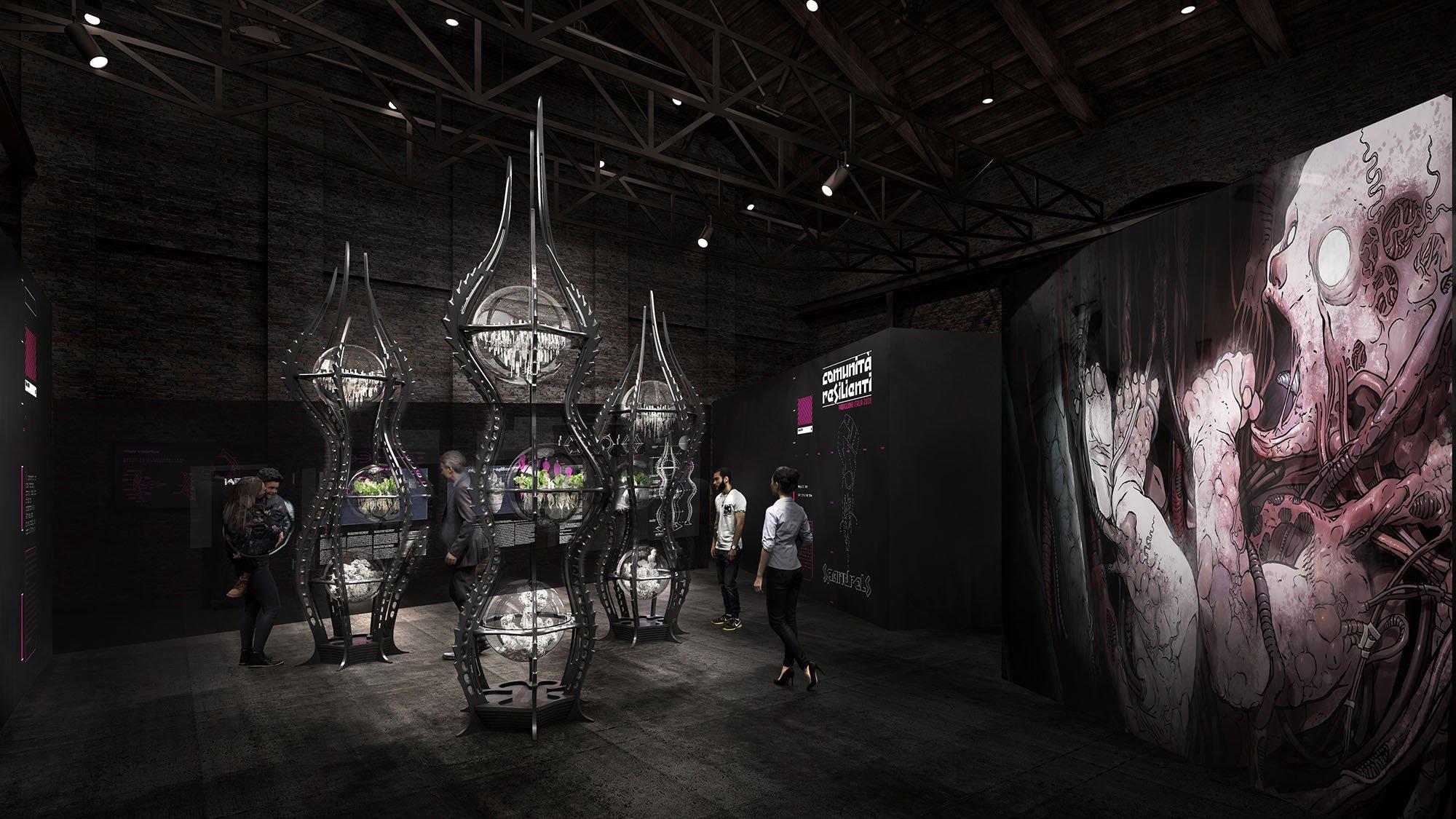 """Padiglione Italia. Sezione """"Architectural Exaptation"""" e Installazione curatoriale """"Spandrel""""."""
