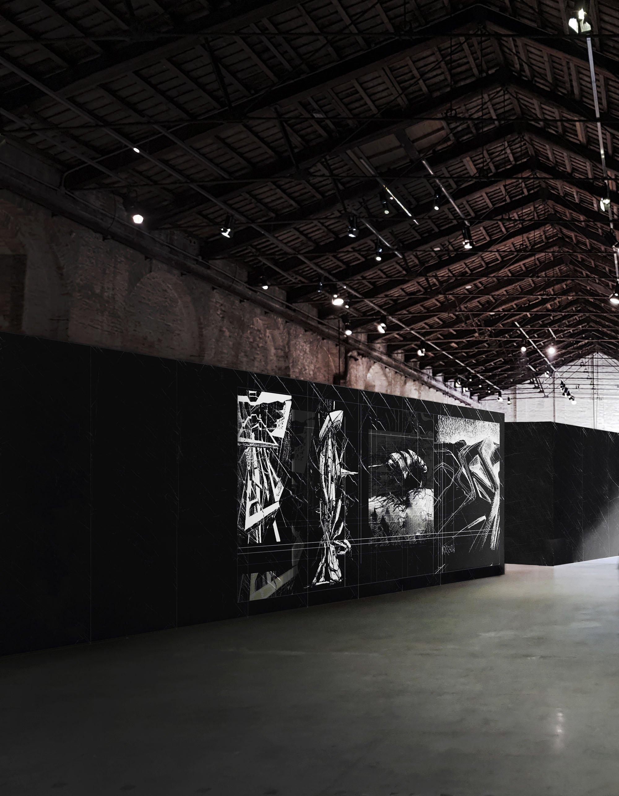 """Padiglione Italia. Installazione curatoriale """"Cyberwall I""""."""