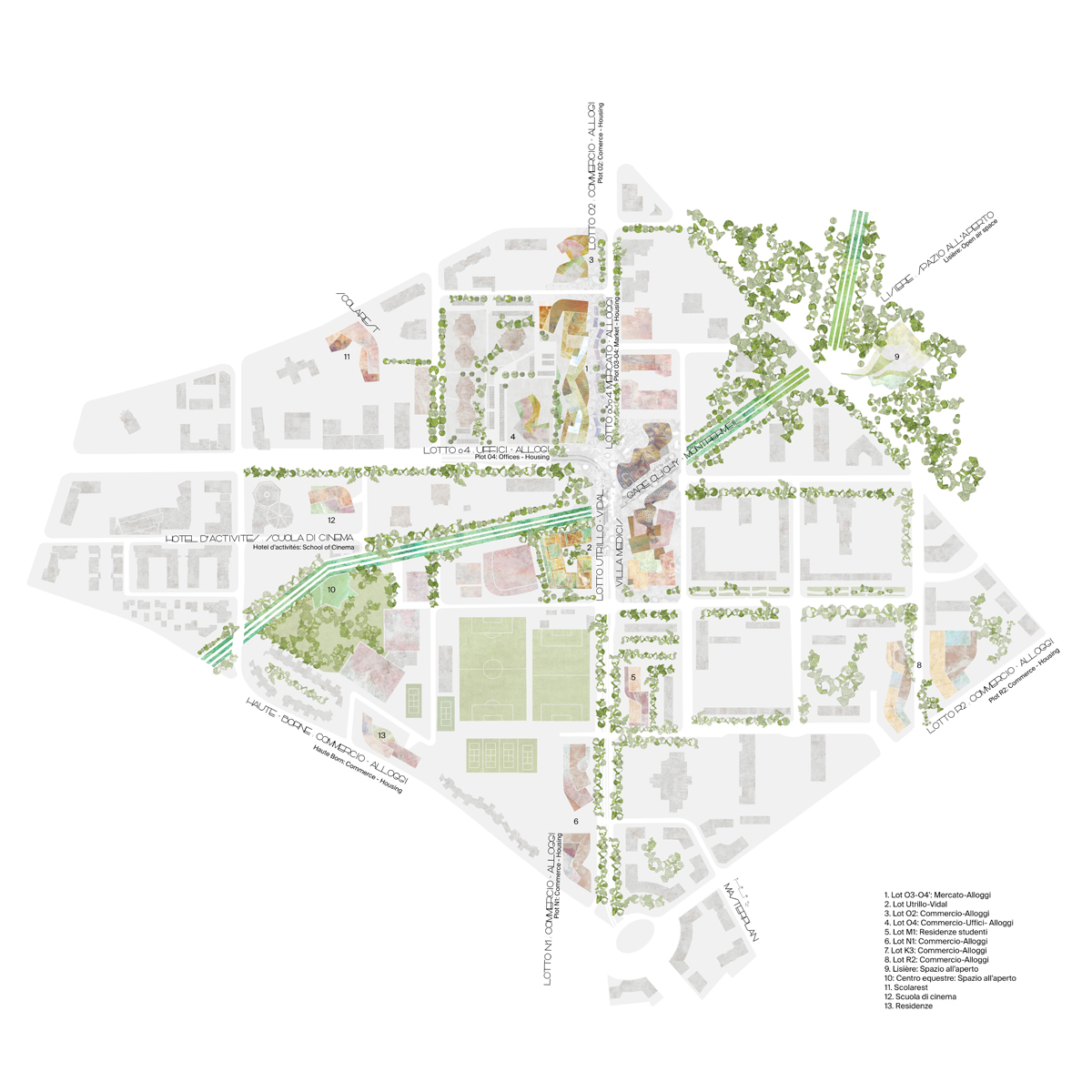 Plateau Central Masterplan and Housing, 2017.  Benedetta Tagliabue - Miralles Tagliabue EMBT  (Masterplan drawing)