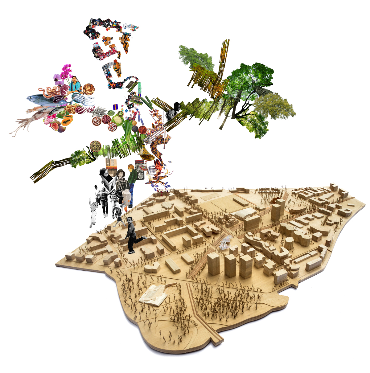 Plateau Central Masterplan and Housing, 2017  Benedetta Tagliabue - Miralles Tagliabue EMBT  (Conceptual Collage, from nature to public activities)