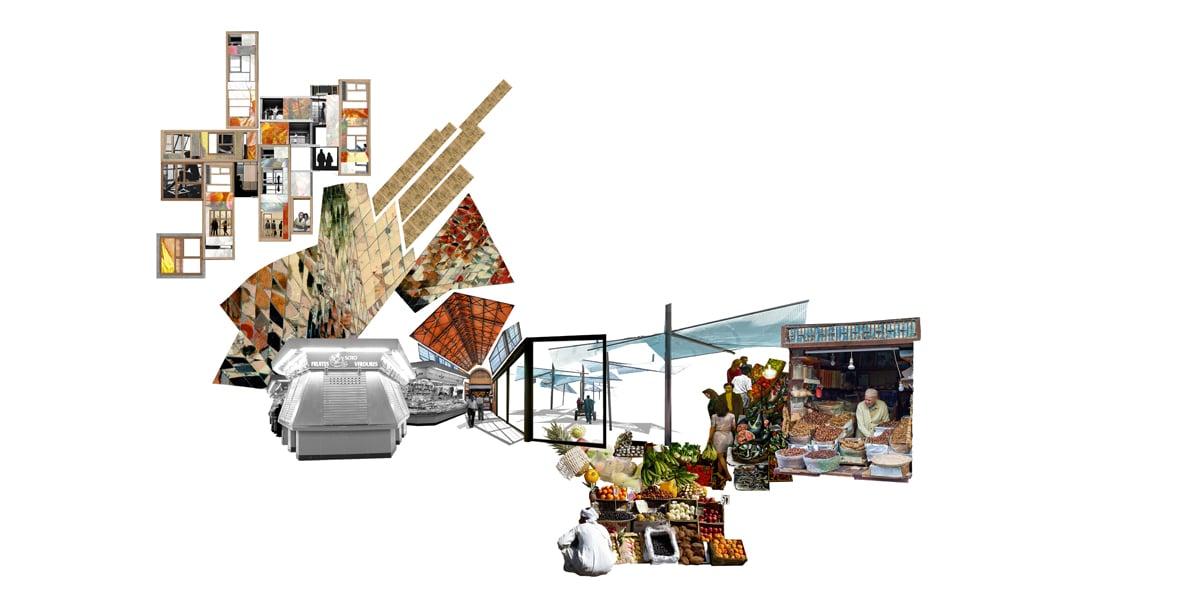 Housing, 2017  Benedetta Tagliabue - Miralles Tagliabue EMBT  (Conceptual collage, living within a market)