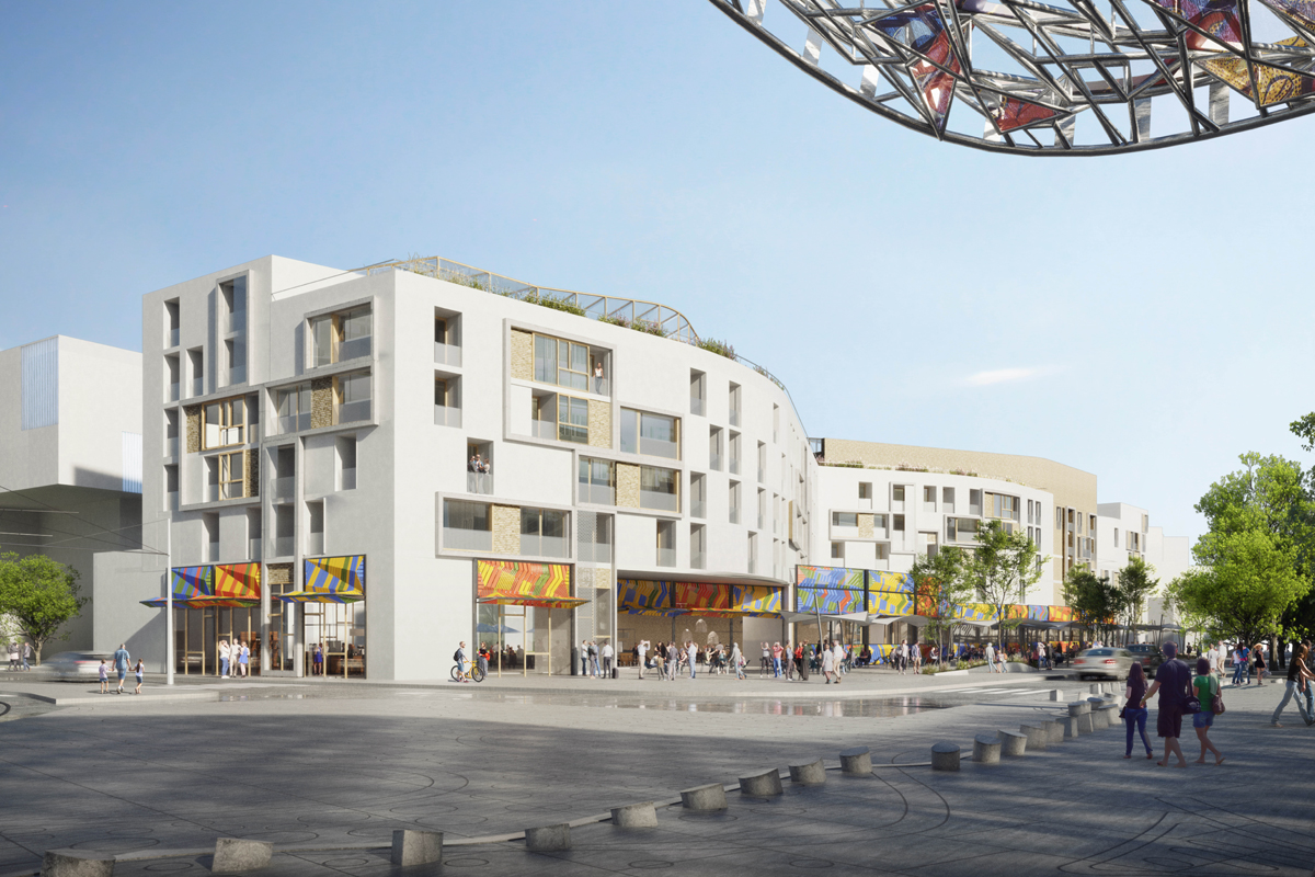 Centr-Halle Housing and Market, Clichy-Montfermeil metro station, 2017.  Benedetta Tagliabue - Miralles Tagliabue EMBT  (View)