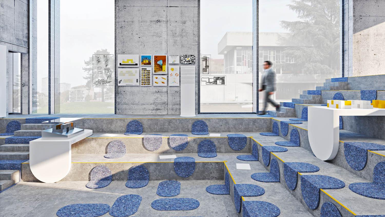 Manuelle Gautrand Architecture, mostra presso il Sito Le Corbusier a Firminy, Francia - Allestimento dello spazio espositivo