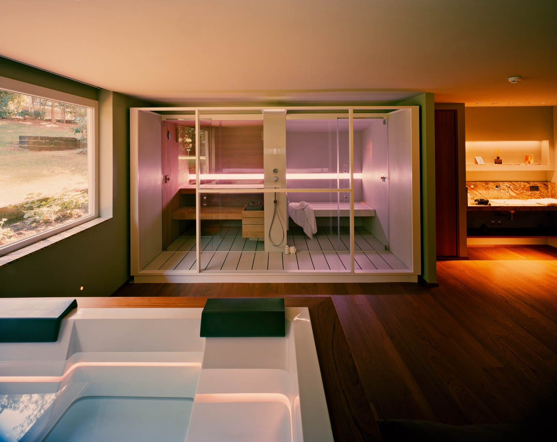 Courtesy of Effe Gallia Palace Beach & Golf Resort, Punta Ala, Grosseto, Italy - LOGICA sauna + hammam system, with a shower and digital touch controls