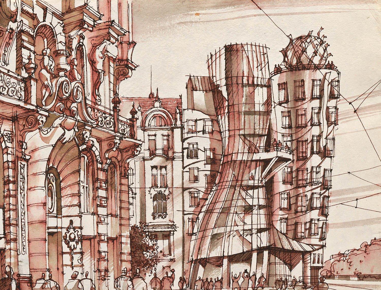 Schizzi originali di Sergei Tchoban © Sergei Tchoban. Tutte le immagini courtesy Tchoban Foundation Casa Danzante, hotel Frank O. Gehry. Praga, Repubblica Ceca 2017, seppia su carta, 237x328 cm
