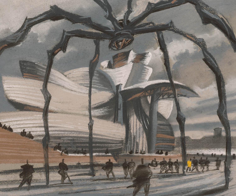 Schizzi originali di Sergei Tchoban © Sergei Tchoban. Tutte le immagini courtesy Tchoban Foundation Guggenheim Museum Bilbao Frank O. Gehry. Bilbao, Spagna 2017, pastello, carboncino su carta, 325x403 cm